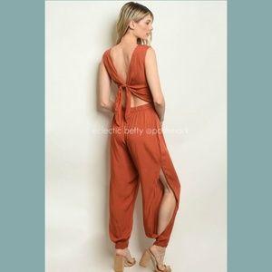Mustard Seed Pants - Split Harem Leg Jumpsuit Terra Cotta Wrap Waist